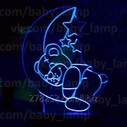 Подарок для ребенка ночник, светильник Мишка спит на месяце. фото