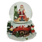 """Шар водяной музыкальный """"Рождественское волшебство"""" с подсвет. 13*13*15см, d=10см 119220 фото"""