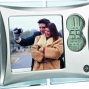 Рамка для фотографии 9х9 см с часами и датой с подсветкой фото
