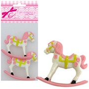 Фигурка декоративная Лошадка розовая 6см 2шт фото