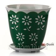 Горшок для цветов с поддоном соблазн 1,5 л (зеленый) (861099) фото