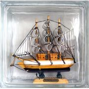 Стеклоблок эксклюзивный морская тематика МТ_002(А) 190х190х80мм фото