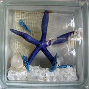 Стеклоблок эксклюзивный морская тематика МТ_004(А) 190х190х80мм фото