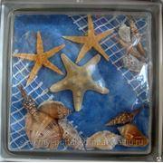 Стеклоблок эксклюзивный морская тематика МТ_009(Ж) 190х190х80мм фото