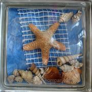 Стеклоблок эксклюзивный морская тематика МТ_009(З) 190х190х80мм фото