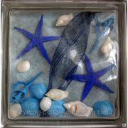 Стеклоблок эксклюзивный морская тематика МТ_009(Х) 190х190х80мм фото