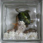 Стеклоблок эксклюзивный морская тематика МТ_012(В) 190х190х80мм фото