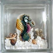 Стеклоблок эксклюзивный морская тематика МТ_013(А) 190х190х80мм фото