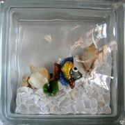 Стеклоблок эксклюзивный морская тематика МТ_008(З) 190х190х80мм фото