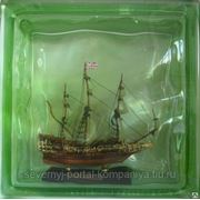 Стеклоблок эксклюзивный морская тематика МТ_002(Г) 190х190х80мм фото