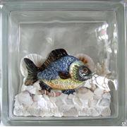 Стеклоблок эксклюзивный морская тематика МТ_008(Ж) 190х190х80мм фото