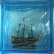 Стеклоблок эксклюзивный морская тематика МТ_002(В) 190х190х80мм фото