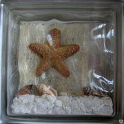 Стеклоблок эксклюзивный морская тематика МТ_021(Б) 190х190х80мм фото