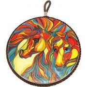 """Подставка под горячее """"красный конь"""" d=17см. b=1см. (подарочная упаковка) (857542) фото"""
