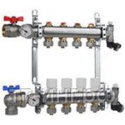 Коллектор для систем отопления с балансировочными клапанами и концевой группой на 5 выходов фото