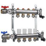Коллектор для систем отопления с балансировочными клапанами и концевой группой на 10 выходов фото