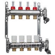 Коллектор для системы отопления распределительный на 4 выхода с расходомерами и концевыми группами фото