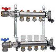 Коллектор для систем отопления с балансировочными клапанами и концевой группой на 9 выходов фото