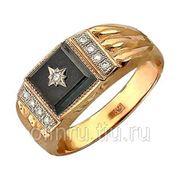 Мужской перстень из золота с фианитом фото