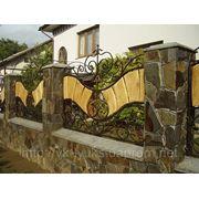 Ковані ворота з деревом фото