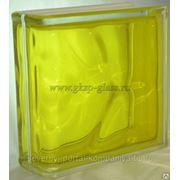 Стеклоблок торцевой Волна желтый 190х190х80мм VITRABLOC фото
