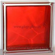 Стеклоблок окрашенный внутри Волна Рубин 190х190х80мм VITRABLOC фото
