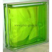 Стеклоблок торцевой Волна тархун 190х190х80мм VITRABLOC фото
