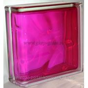 Стеклоблок торцевой Волна малиновый 190х190х80мм VITRABLOC фото