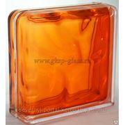 Стеклоблок завершающий Волна оранжевый 190х190х80мм VITRABLOC фото