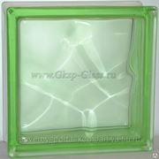 Стеклоблок окрашенный в массе Волна Зеленый 190х190х80мм VITRABLOC фото