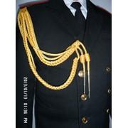 Аксельбант уставной офицерский (старший офицерский состав, 2 косы, 2 наконечника), метанить золото фото