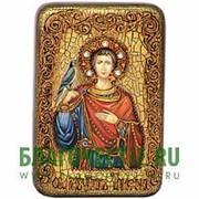 Олд Модерн Трифон, святой мученик, копия писанной иконы ручной работы под старину Высота иконы 15 см фото