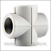 Крестовина полипропиленовая Ф 32 мм цвет белый. фото