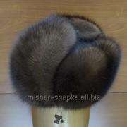 Шапка-ушанка из меха соболя и натуральной кожи фото