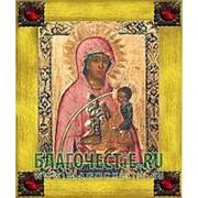 Благовещенская икона Молчанская Богородица, копия старой иконы, печать на дереве, золоченая рамка, стразы Высота иконы 18 см Красные стразы фото