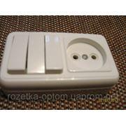 Блок наружный тройной выключатель и розетка фото