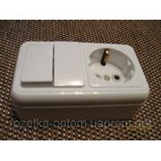 Блок наружный двойной выключатель и розетка с заземлением фото