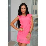 Платье гипюр плечи рюш розовый фото