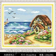 Картина стразами Домик у моря 35х30 см фото