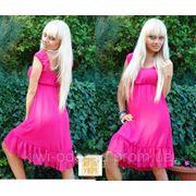 Платье шифон до колен маечка розовый фото