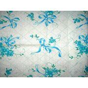Ткань постельная Ситец Бантик Бирюзовый На Белом фото