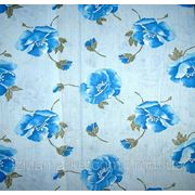 Ткань постельная Голубые маки на голубом фото