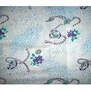 Ткань постельная ситец Цепи сиреневые на голубом фото