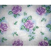 Ткань постельная Большая роза фиолетавая фото