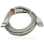 Удлинитель USB*2.0 Am-Af серый - 5 метров фото