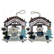 """Новогоднее настенное украшение """"Дед Мороз/Снеговик"""" 34см 175779 фото"""