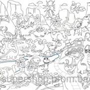 Обои-раскраски с наклейками Древние динозавры 60х100см 123 фото