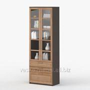 Шкаф 2-дверный с ящиками Соло 054 Корпус венге, фасад слива/стекло фото