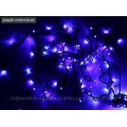 """Гирлянда """"Твинкл"""", черная нить 10 м, LED-(R), 100 лампочек, 240V, с контроллером, 8 режимов, синяя фото"""
