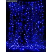 """""""Световой дождь"""" Silikon белая нить 2*1,5 м, LED-400 лампочек, 240V, с контроллером, 8 режимов, синяя фото"""